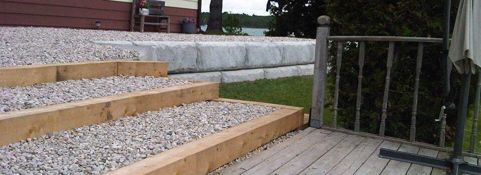 Gravel Filled Steps and Retaining Wall